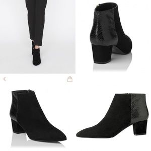 LK Bennett Ankle Boots Suede Python Effect Leather
